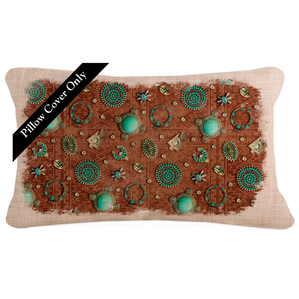 Turquoise Gala Rectangle Pillow Cover
