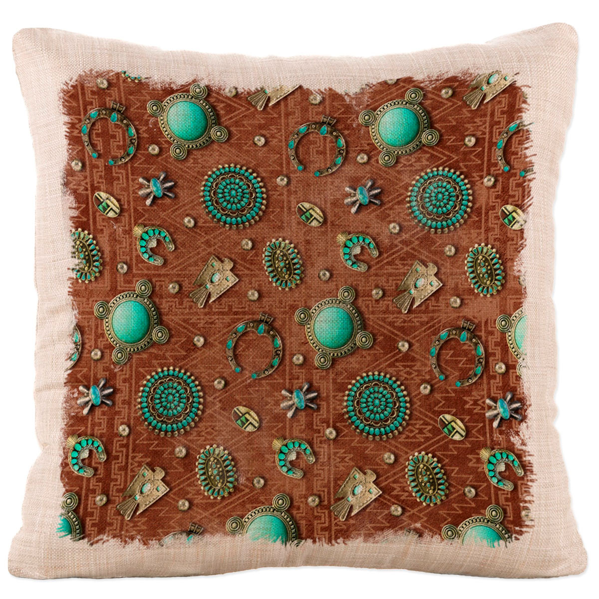 Turquoise Gala Square Pillow