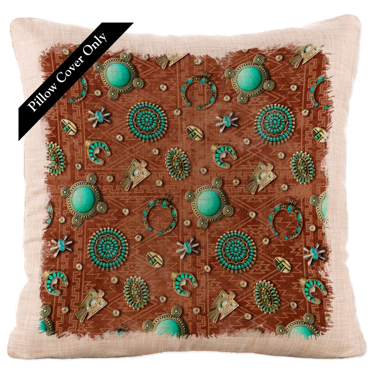 Turquoise Gala Square Pillow Cover