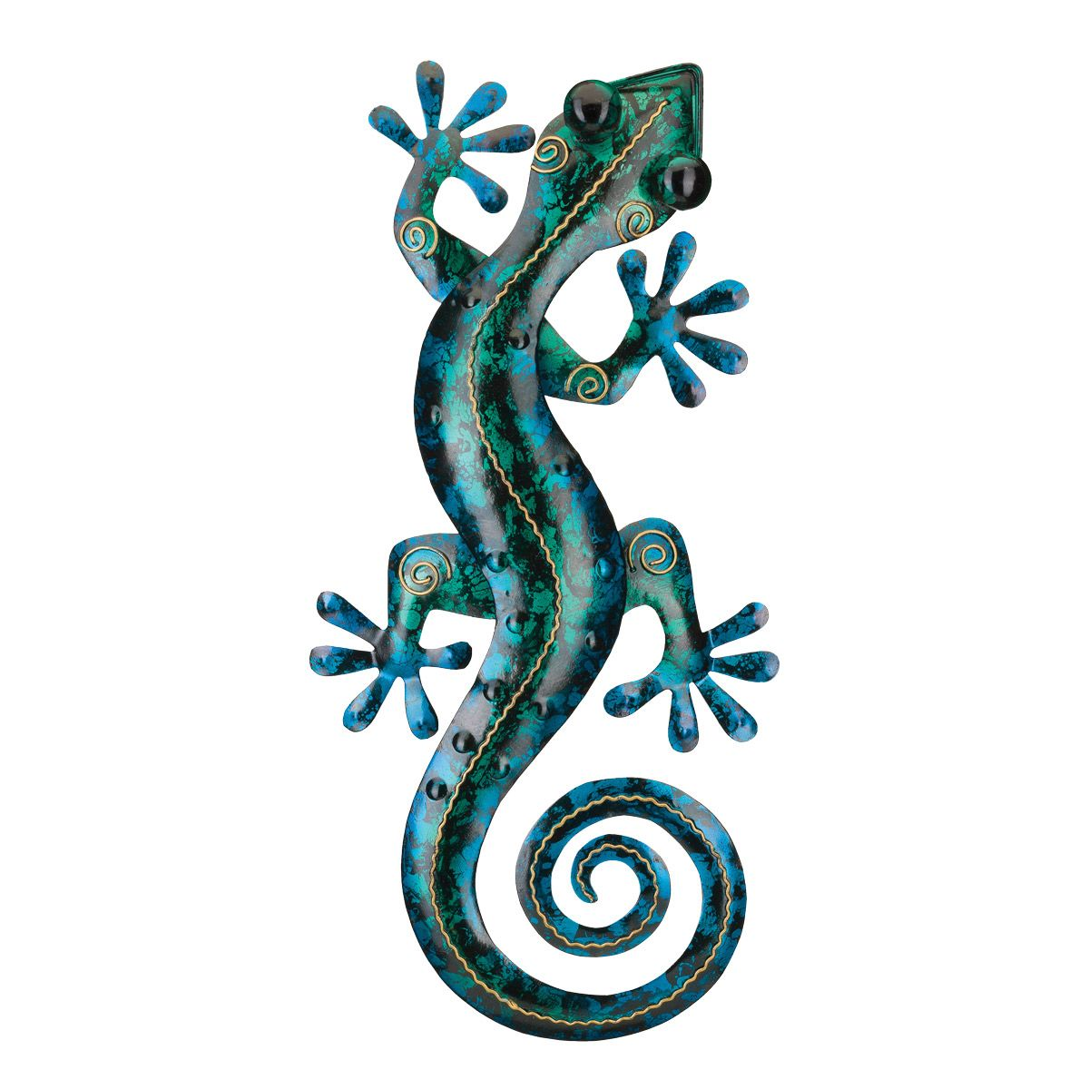Turquoise Gecko Metal Wall Art - 19 Inch