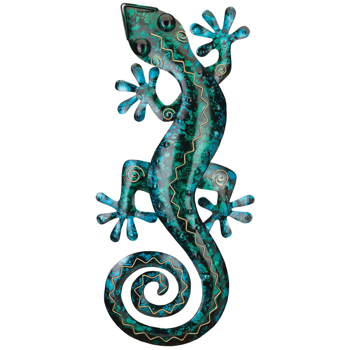 Turquoise Gecko Metal Wall Art - 29 Inch