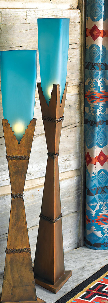 Turquoise Glass Floor Lamp - Medium