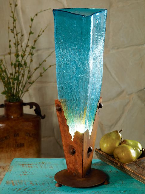 Rustic Lamps Turquoise Glass Iron Lamp