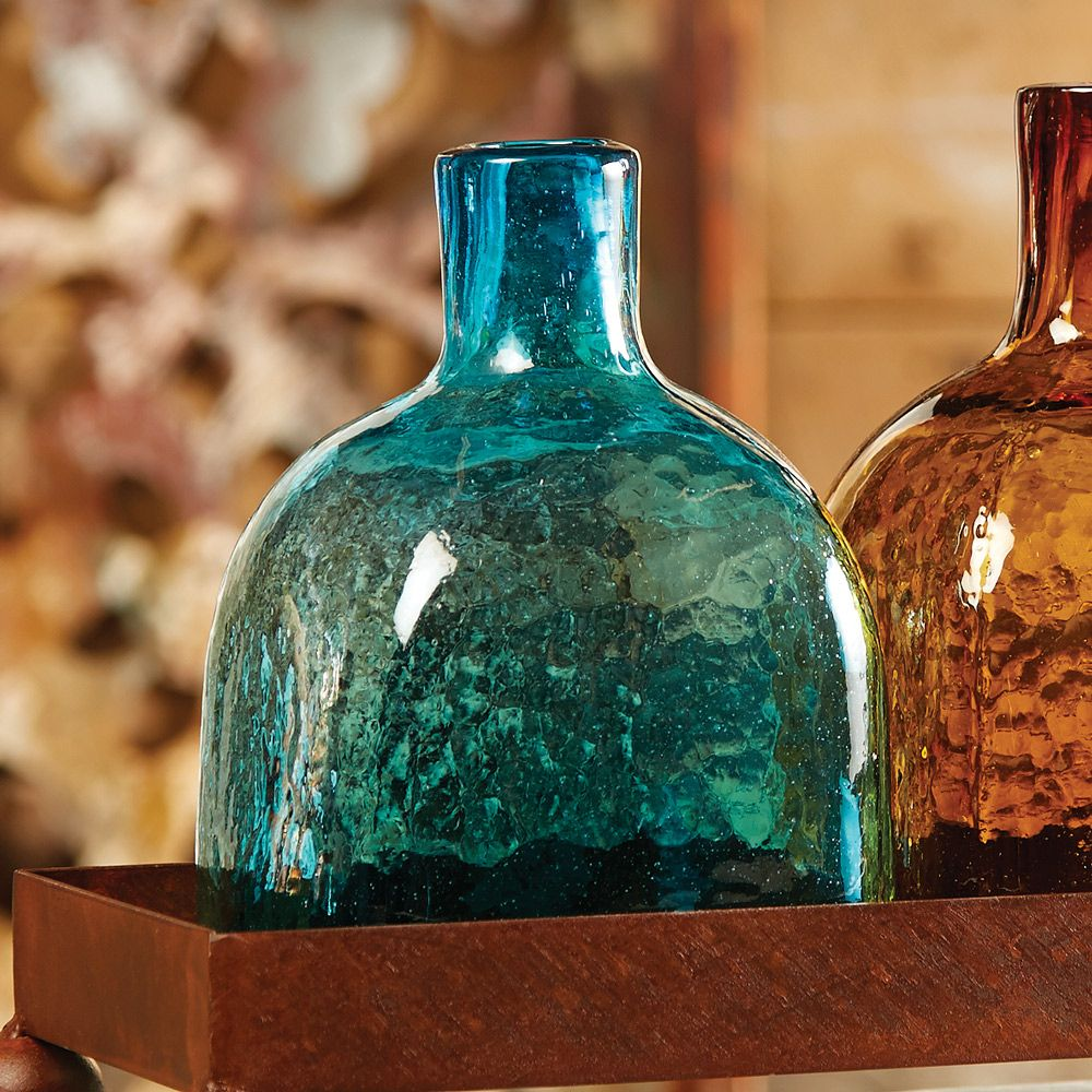 Turquoise Glass Tequila Bottle