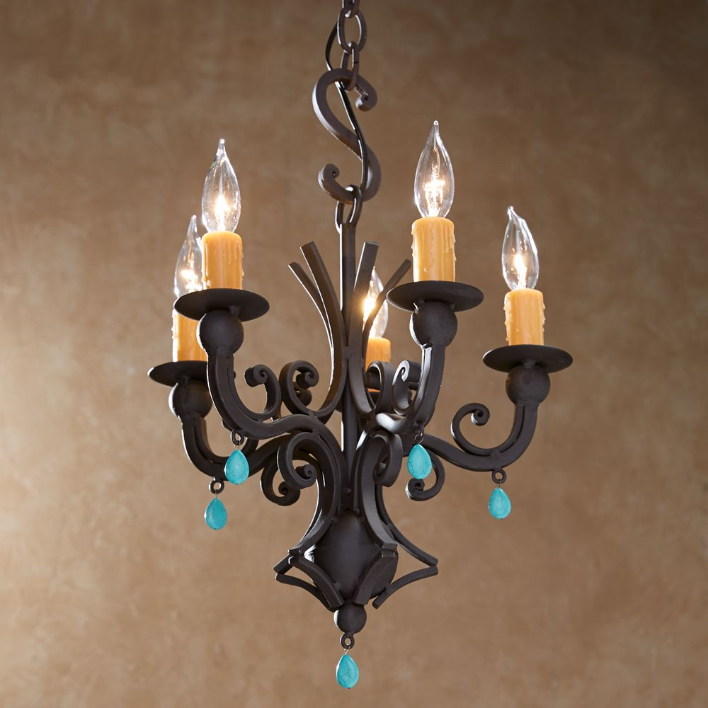 Turquoise Hand Forged Iron Chandelier