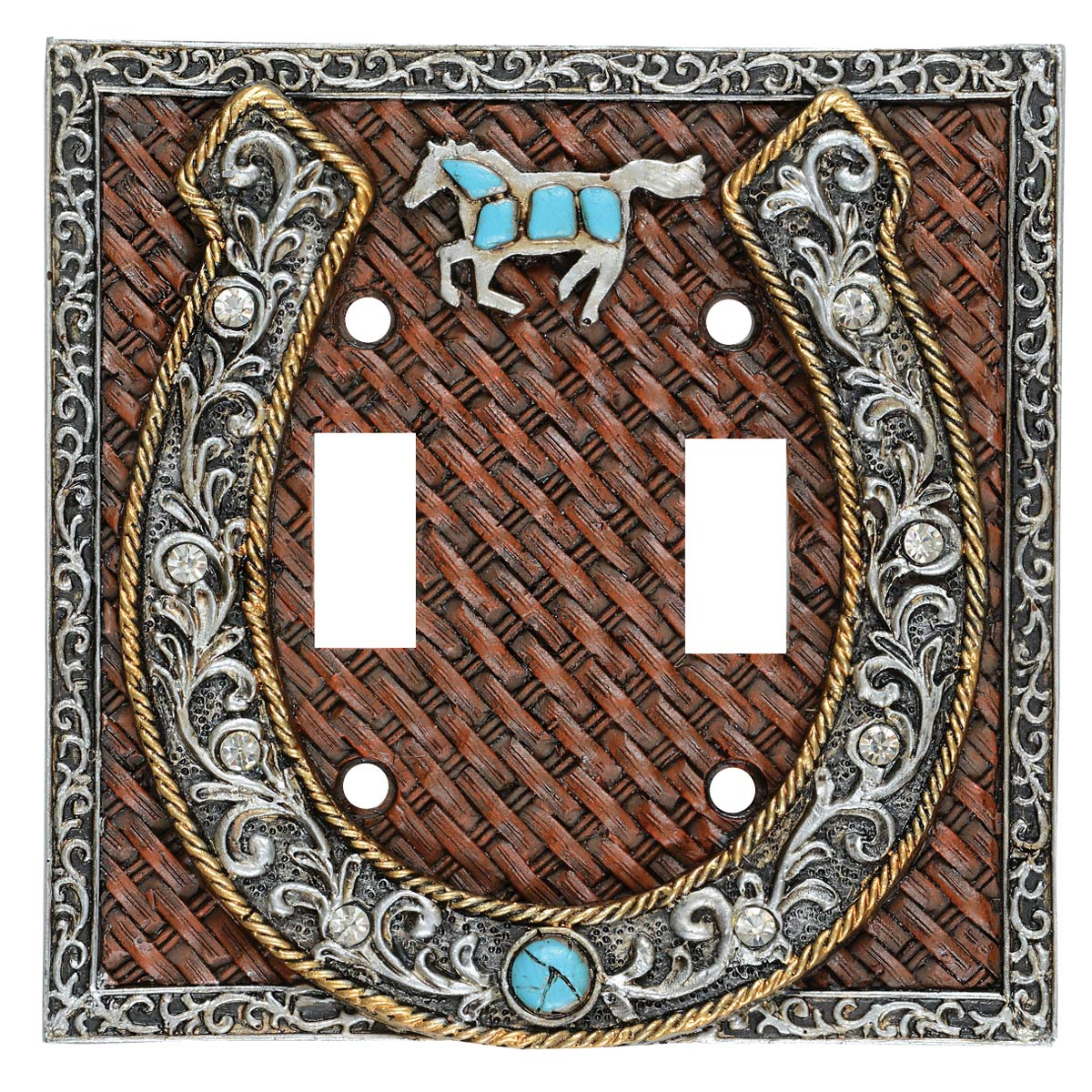 Turquoise Horse Double Switch Plate