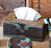 Turquoise Horseshoe and Cross Tissue Box