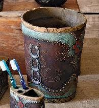 Turquoise Horseshoe and Cross Waste Basket