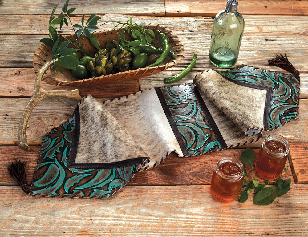 Turquoise Leather & Brindle Table Runner - 12 x 54