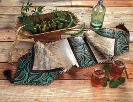 Turquoise Leather & Brindle Table Runner
