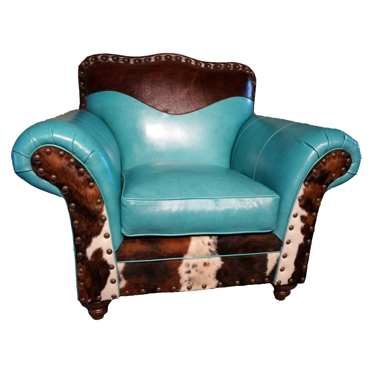 Turquoise Leather & Cowhide Club Chair