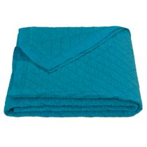 Turquoise Linen Quilt - Twin