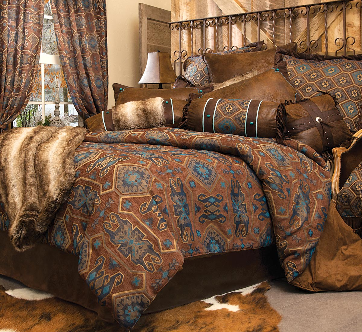 Western Bedding: King Size Turquoise Mesa Bed Set Lone Star Western ...