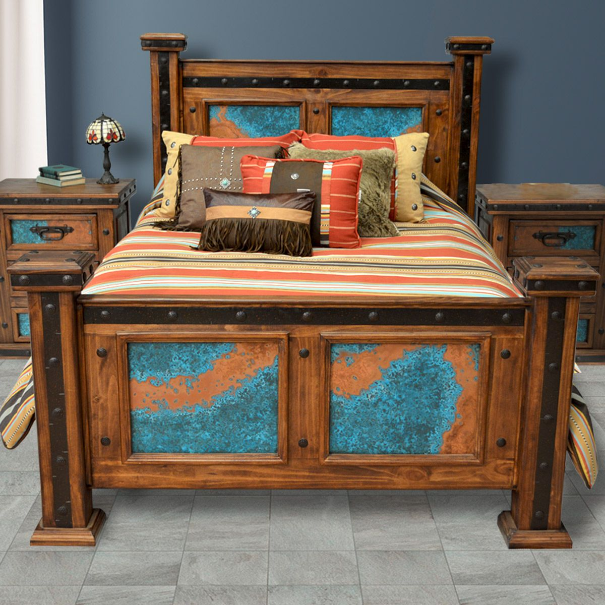 Turquoise Patina Copper Bed - Queen