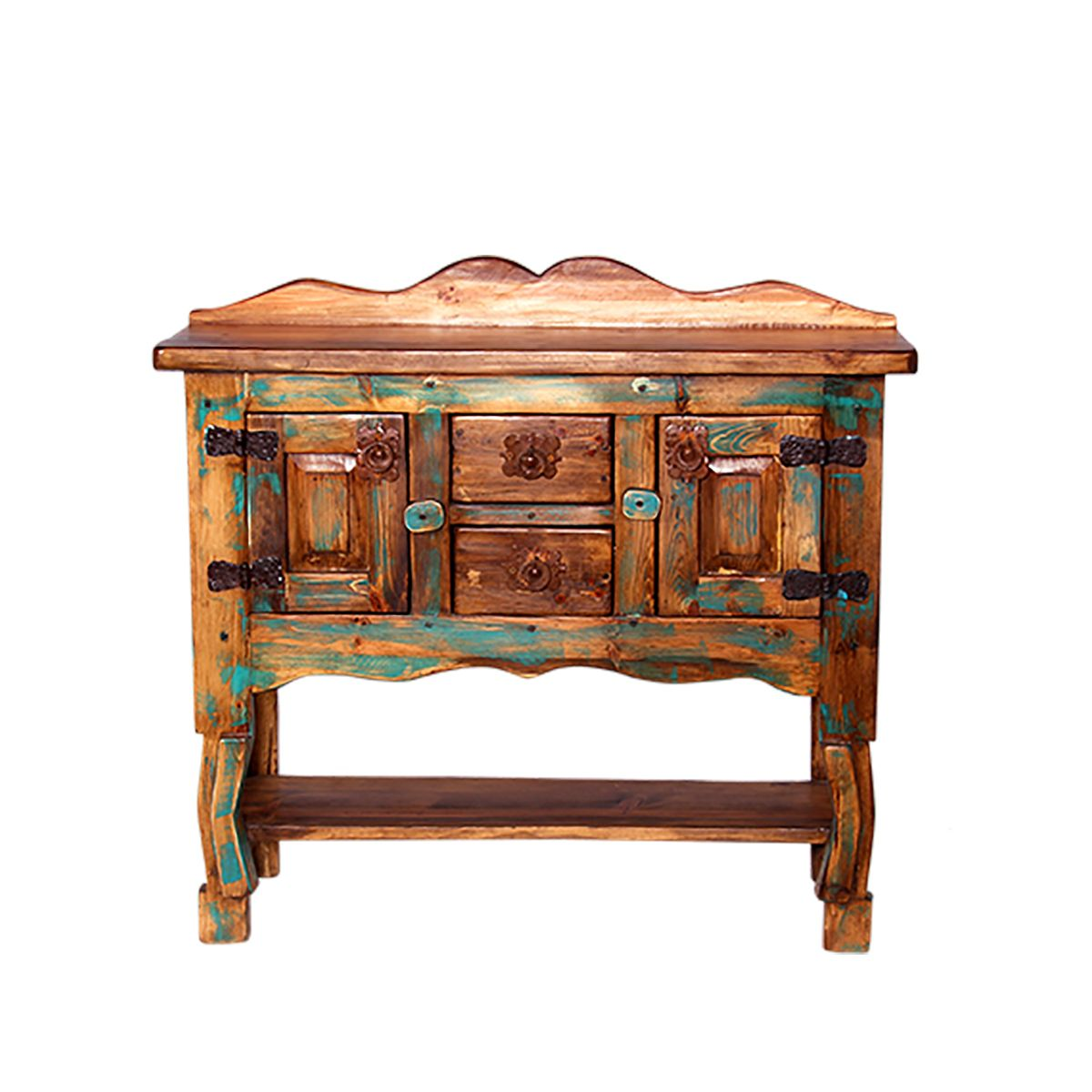 Turquoise Pine Entry Table