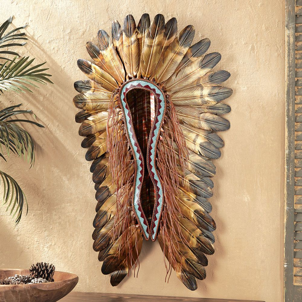 Turquoise & Red Headdress Wall Hanging