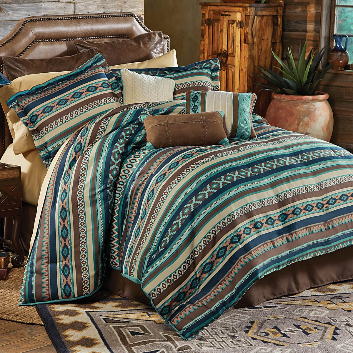 Western Bedding Sets: King Size Turquoise River Bed Set|Lone Star