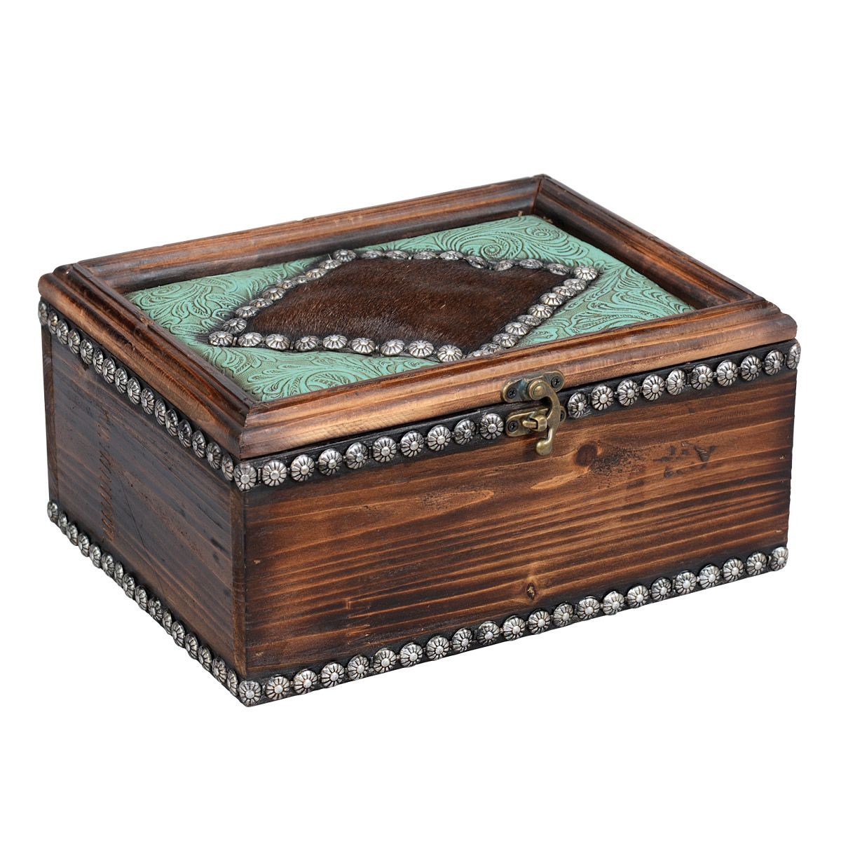 Turquoise Scroll & Wood Box