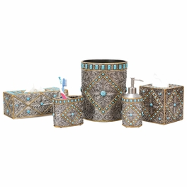 Turquoise & Silver Scroll Bath Accessories - CLEARANCE