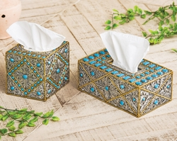 Turquoise & Silver Scroll Tissue Boxes