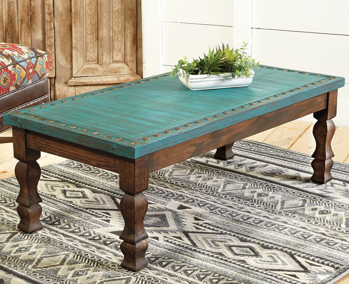 Turquoise Silver Trails Coffee Table
