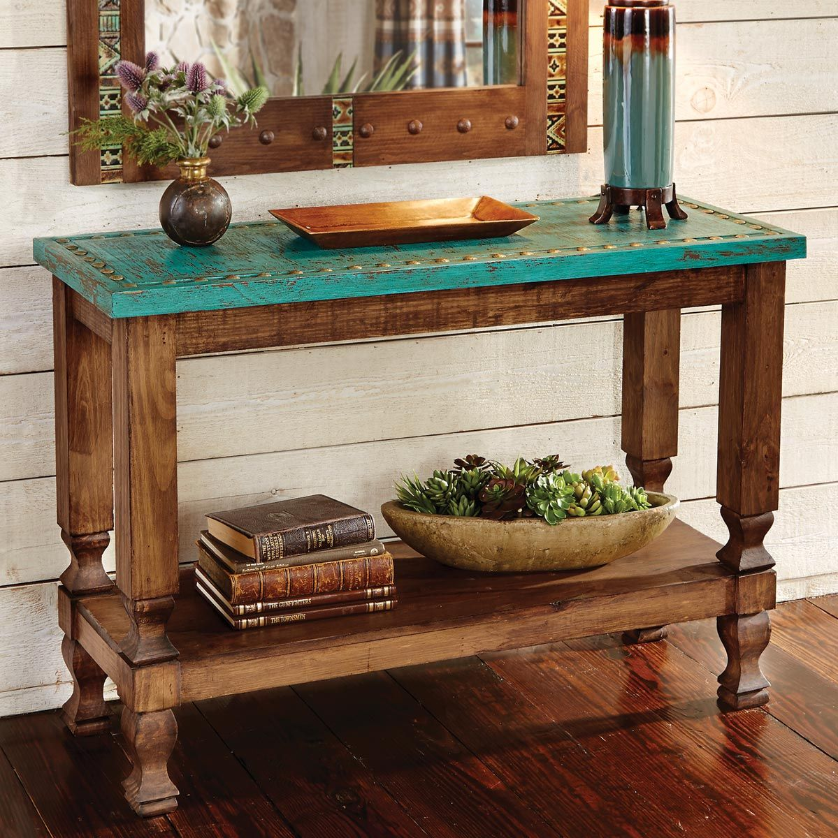 Marvelous Turquoise Silver Trails Console Table Beutiful Home Inspiration Xortanetmahrainfo
