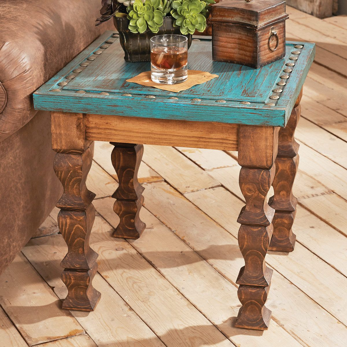 Turquoise Silver Trails End Table