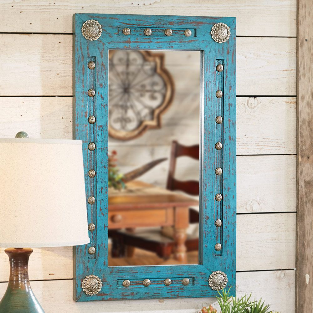 Turquoise Silver Trails Wood Mirror