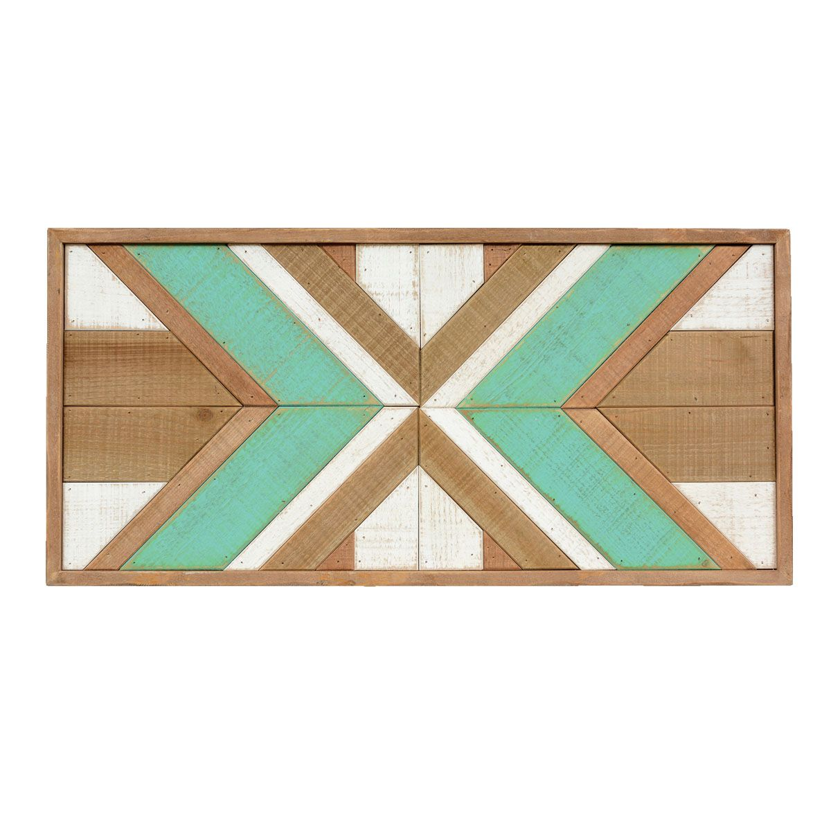 Turquoise Southwest Blanket Wood Wall Art - CLEARANCE