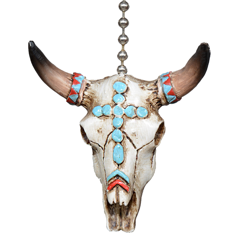 Turquoise Steer Ceiling Fan Pull