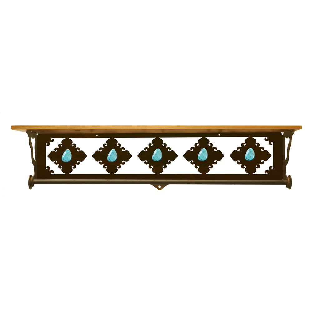 Turquoise Stone Bath Wall Shelf - 34 Inch