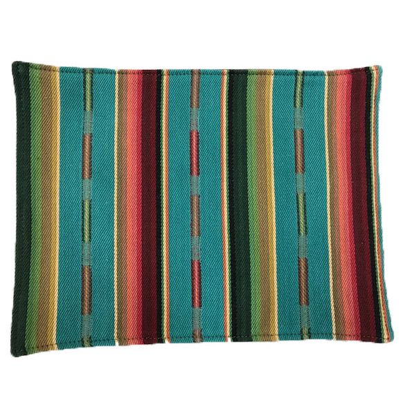 Turquoise Stripe Serape Fabric Placemats - Set of 4