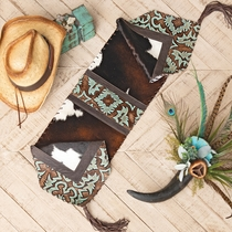 Turquoise Tooled Leather & Cowhide Table Runner - 12 x 72