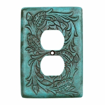Turquoise Tooled Leather Outlet Cover