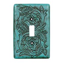 Turquoise Tooled Leather Single Switch Cover
