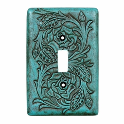 Turquoise Tooled Leather Switch Covers
