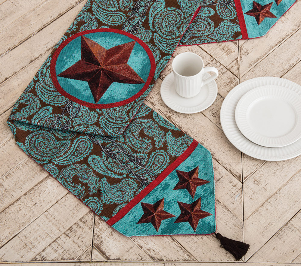 Turquoise Western Star Table Runner