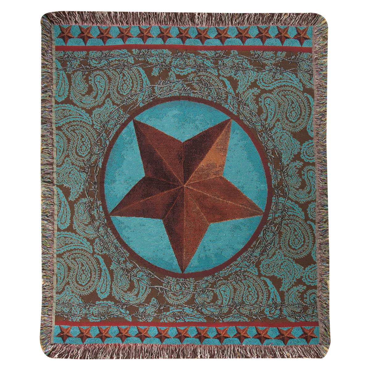 Turquoise Western Star Tapestry Throw