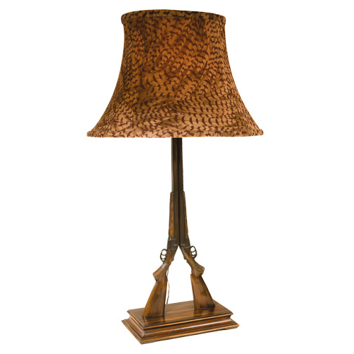 Twin Double Barrel Shotgun Table Lamp with Pheasant Shade