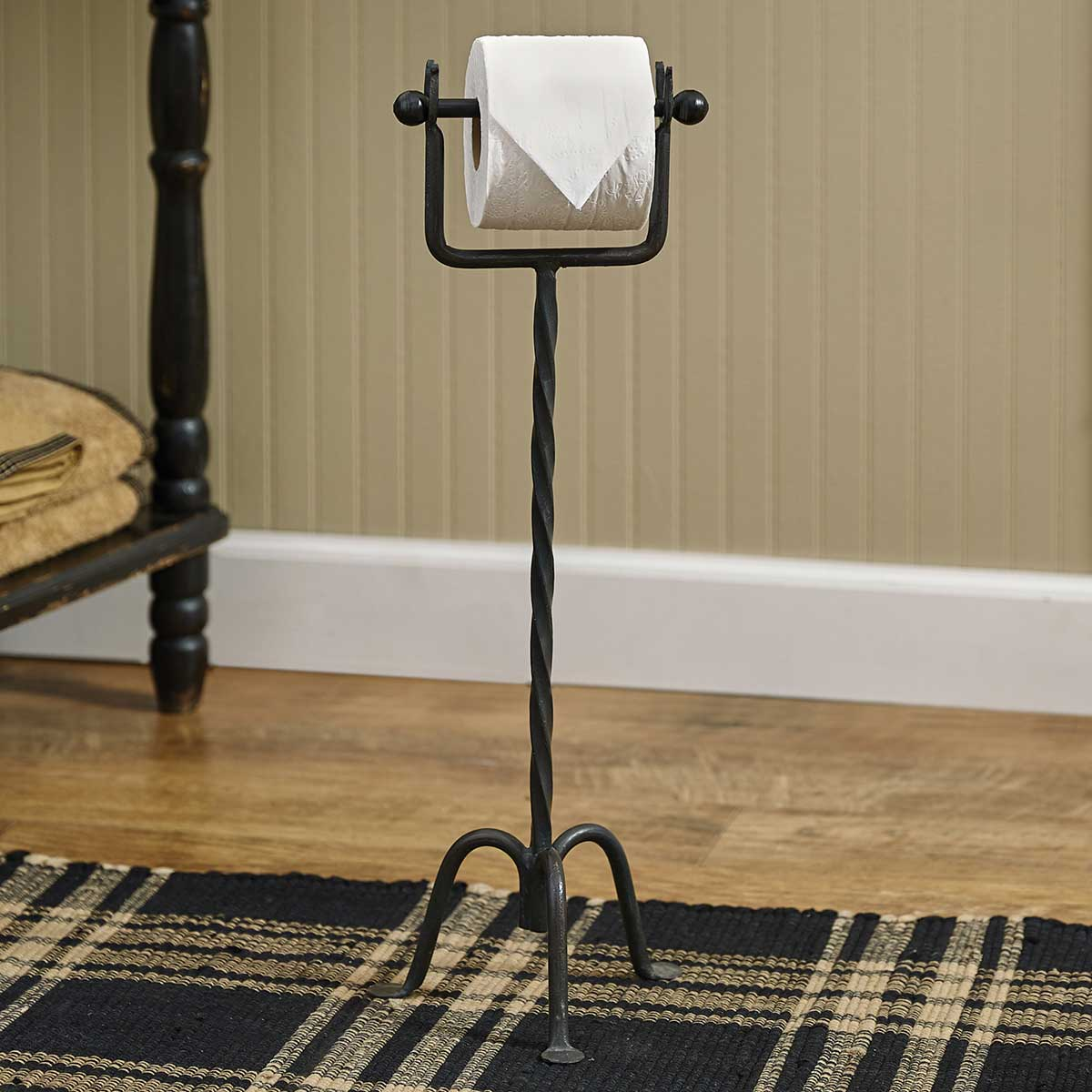 Twisted Iron Standing Toilet Paper Holder