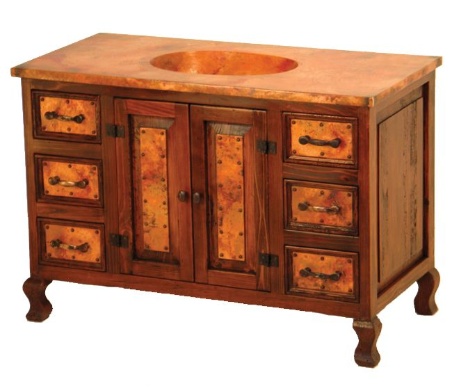 Two-Door Sink Cabinet with Copper - 6 Drawer