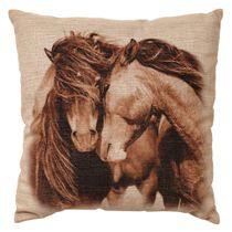 Two Horses Burlap Pillow