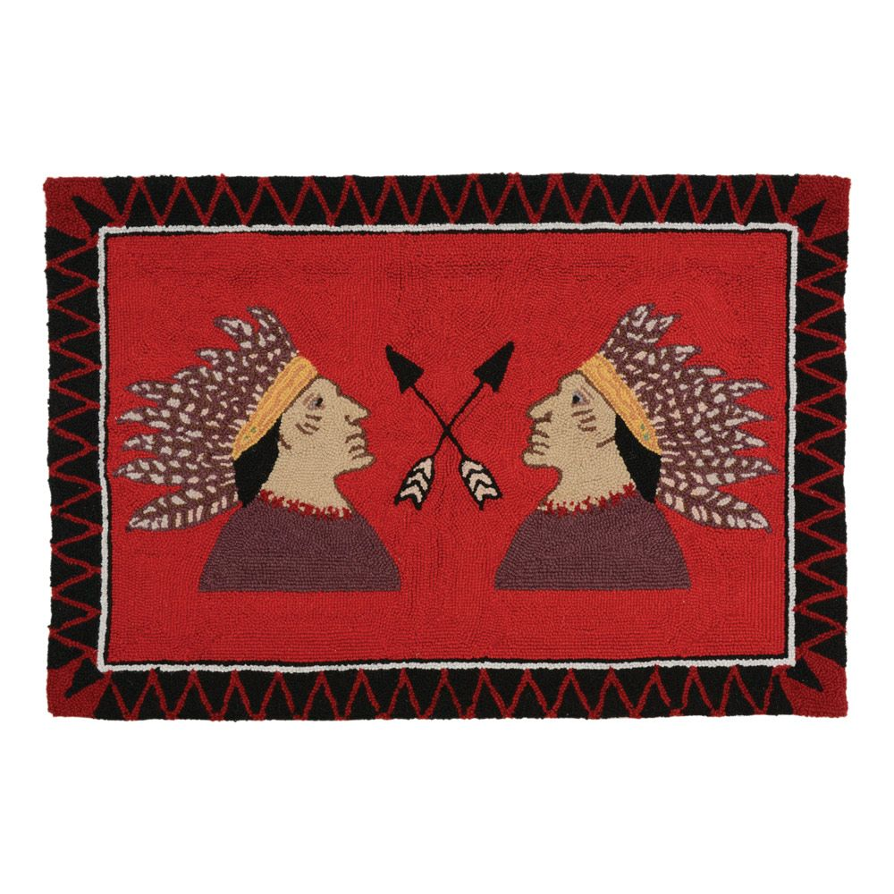 Two Warriors Hooked Wool Rug