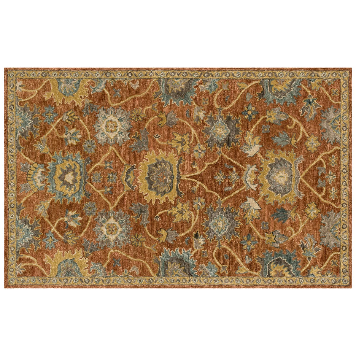 Underwood Rust Gold Rug - 5 x 8