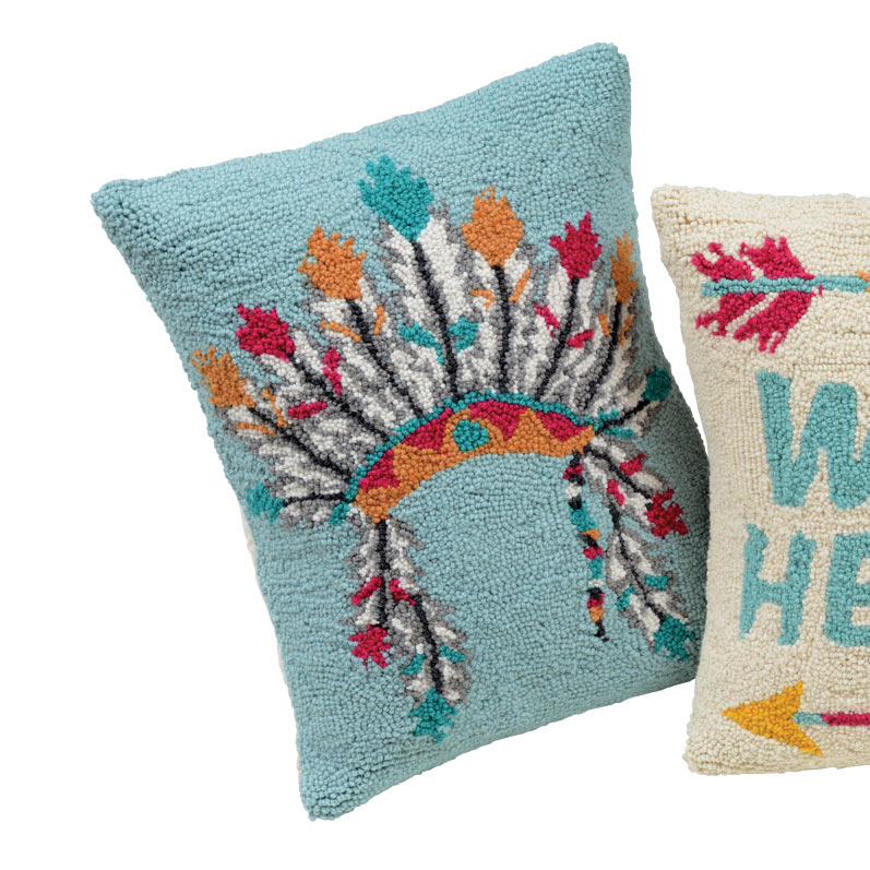 Vibrant Headdress Hooked Pillow - CLEARANCE