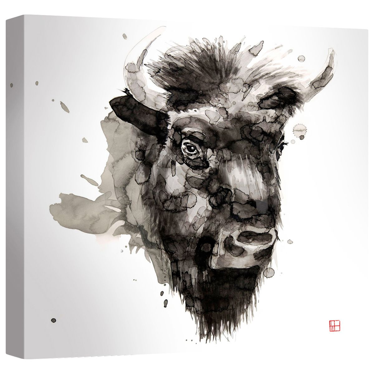 Watercolor Buffalo Canvas Wall Art