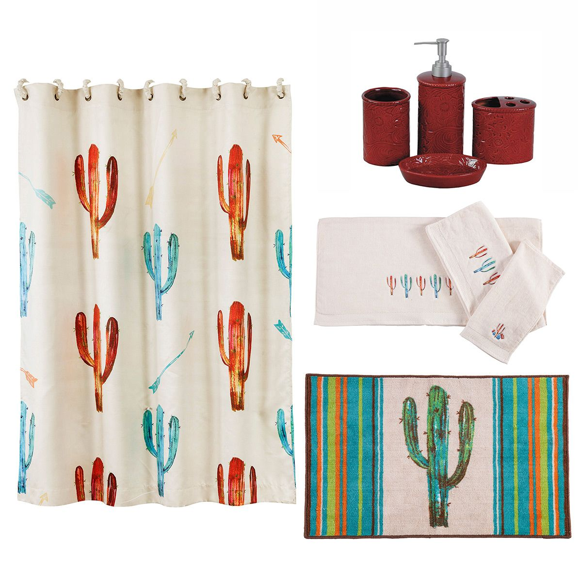 Watercolor Cactus 21 Piece Bath Set