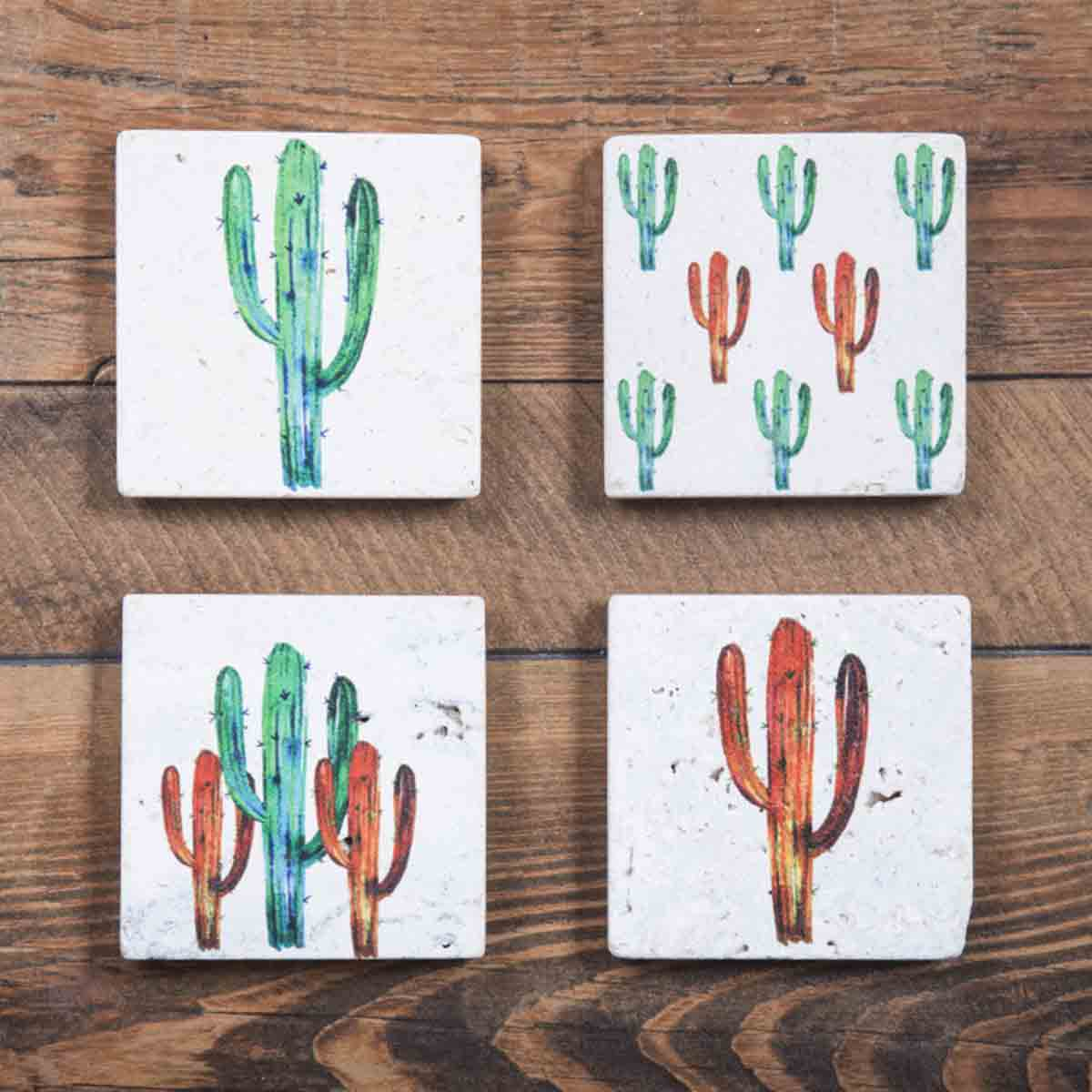 Watercolor Cactus Coasters - Set of 4 - OUT OF STOCK UNTIL 7/5/2021