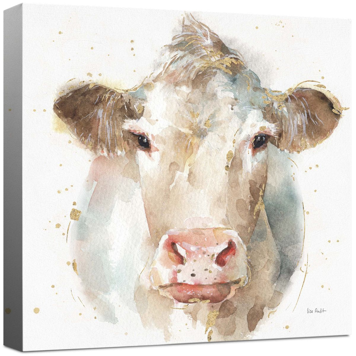 Watercolor Cow Canvas Wall Art