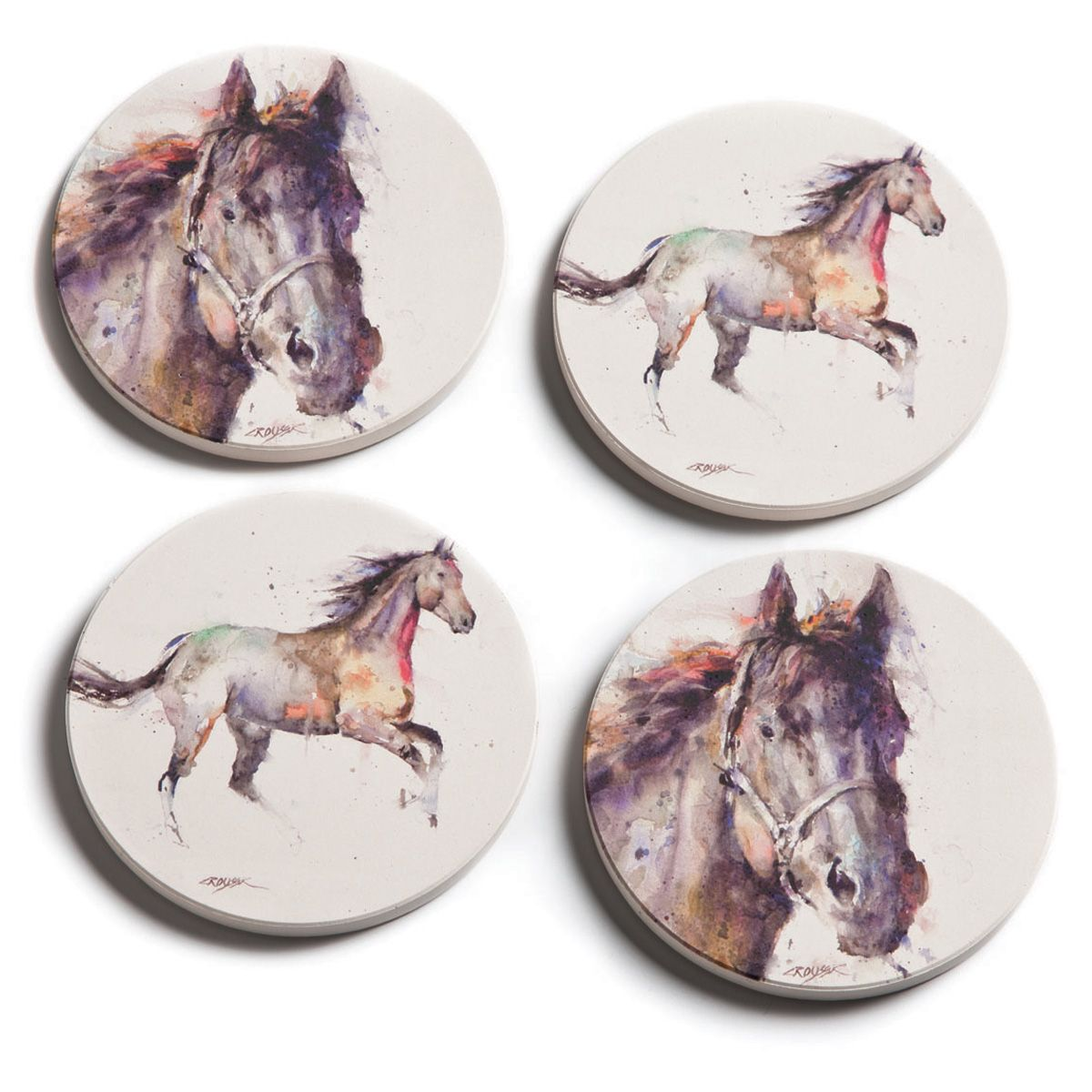 Watercolor Horse Coasters - Set of 4